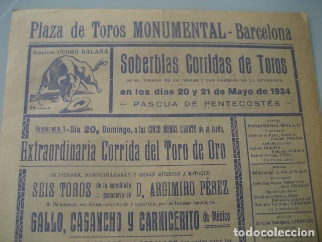 Carteles Toros: CARTEL TOROS PLAZA MONUMENTAL BARCELONA 1934. GALLO, CAGANCHO, CARNICERITO DE MEXICO, LALANDA, BARRE - Foto 5 - 178354842