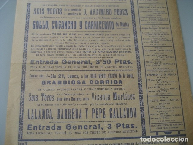 Carteles Toros: CARTEL TOROS PLAZA MONUMENTAL BARCELONA 1934. GALLO, CAGANCHO, CARNICERITO DE MEXICO, LALANDA, BARRE - Foto 6 - 178354842