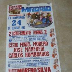 Carteles Toros: CARTEL TOROS GRANDE - MADRID - OCTUBRE DE 1982. Lote 178604185