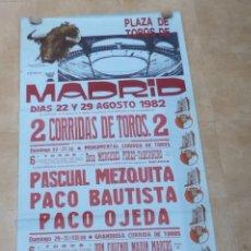 Carteles Toros: CARTEL TOROS GRANDE - MADRID - AGOSTO DE 1982. Lote 178604833