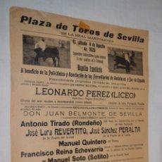 Carteles Toros: CARTEL DE TOROS 1928 - SEVILLA, REAL MAESTRANZA - EL SÁBADO 4 DE AGOSTO DE 1928 - ¡IMPRESIONANTE!. Lote 178811601