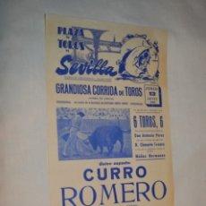 Carteles Toros: ÚNICO ESPADA - CURRO ROMERO - CARTEL DE TOROS - SEVILLA - JUEVES 13 DE JUNIO 1968 - ¡IMPRESIONANTE!. Lote 178816026