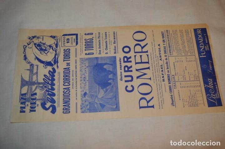 Carteles Toros: Único espada - CURRO ROMERO - Cartel de toros - SEVILLA - Jueves 13 de Junio 1968 - ¡Impresionante! - Foto 2 - 178816026