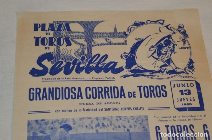 Carteles Toros: Único espada - CURRO ROMERO - Cartel de toros - SEVILLA - Jueves 13 de Junio 1968 - ¡Impresionante! - Foto 3 - 178816026