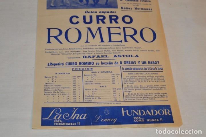 Carteles Toros: Único espada - CURRO ROMERO - Cartel de toros - SEVILLA - Jueves 13 de Junio 1968 - ¡Impresionante! - Foto 5 - 178816026