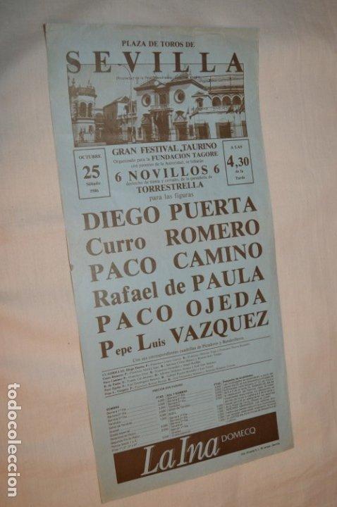 CURRO ROMERO Y OTROS 5 - CARTEL DE TOROS - SEVILLA - SÁBADO 25 DE OCTUBRE DE 1986 - ¡IMPRESIONANTE! (Coleccionismo - Carteles Gran Formato - Carteles Toros)