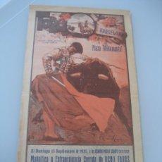 Carteles Toros: CARTEL TOROS PLAZA MONUMENTAL BARCELONA 1935. NIÑO DE LA PALMA, CAGANCHO Y EL SOLDADO. Lote 179066926