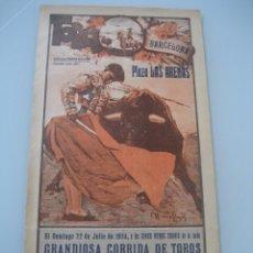 Carteles Toros: CARTEL TOROS PLAZA LAS ARENAS BARCELONA 1934. RAYITO, JAIME NOAIN Y CARNICERITO DE MEXICO. Lote 179067322