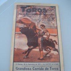 Carteles Toros: CARTEL TOROS PLAZA MONUMENTAL BARCELONA 1932. M. MARTINEZ, JULIO GARCIA, PALMEÑO, SATURIO TORON. Lote 179068415