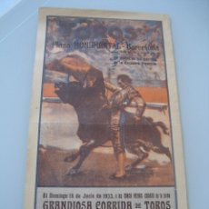 Carteles Toros: CARTEL TOROS PLAZA MONUMENTAL BARCELONA 1933. MARCIAL LALANDA, ARMILLITA CHICO Y MARAVILLA. Lote 179068650