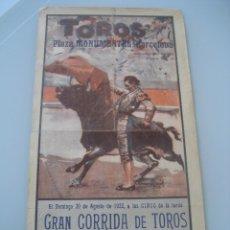 Carteles Toros: CARTEL TOROS PLAZA MONUMENTAL BARCELONA 1933. CARNICERITO DE MALAGA, CARNICERITO DE MEJICO Y L. MORA. Lote 179068865