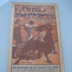 Carteles Toros: CARTEL TOROS PLAZA MONUMENTAL BARCELONA 1935. EL GALLO, TORRES Y MARAVILLA. Lote 179069093
