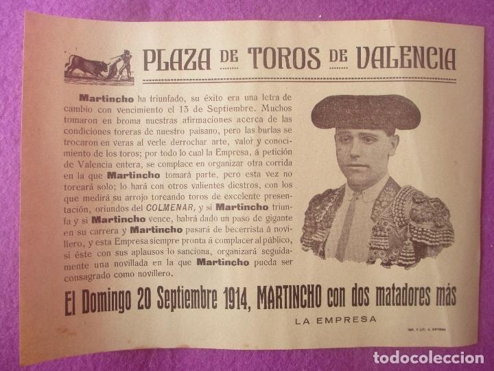 CARTEL TOROS, PLAZA VALENCIA, 1914, MARTINCHO, CT45 (Coleccionismo - Carteles Gran Formato - Carteles Toros)