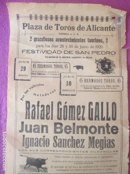 CARTEL TOROS, PLAZA ALICANTE, 1920, RAFAEL GOMEZ GALLO, JUAN BELMONTE, IGNACIO SANCHEZ MEGIAS, CT291 (Coleccionismo - Carteles Gran Formato - Carteles Toros)
