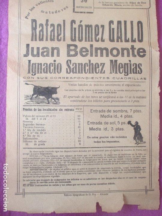 Carteles Toros: CARTEL TOROS, PLAZA ALICANTE, 1920, RAFAEL GOMEZ GALLO, JUAN BELMONTE, IGNACIO SANCHEZ MEGIAS, CT291 - Foto 2 - 179514550