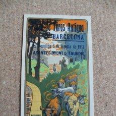 Carteles Toros: CARTEL DE TOROS DE BARCELONA. 3 DE AGOSTO DE 1913. ANTONIO FUENTES, TORQUITO Y FRANCO POSADA.. Lote 179523146