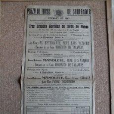Carteles Toros: CARTEL DE TOROS DE SANTANDER. 25 DE JULIO, 1 Y 8 DE AGOSTO DE 1943. MANOLETE, PEPE LUIS VÁZQUEZ. Lote 179523387