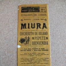 Carteles Toros: CARTEL DE TOROS DE BARCELONA. 21 DE JUNIO DE 1908. COCHERITO DE BILBAO, JOSÉ CLARO PEPETE. Lote 179523622
