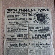 Carteles Toros: CARTEL DE TOROS DE GRANADA. 31 DE MAYO AL 10 DE JUNIO DE 1945. MANOLETE, ARRUZA, DOMINGO ORTEGA. Lote 179523862