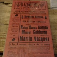 Carteles Toros: SEVILLA, 1938, CARTEL TOROS CON MOTIVO DE LAS FIESTAS DE FALANGE, MARTIN VAZQUEZ,GALLITO,CALDERON. Lote 180013506