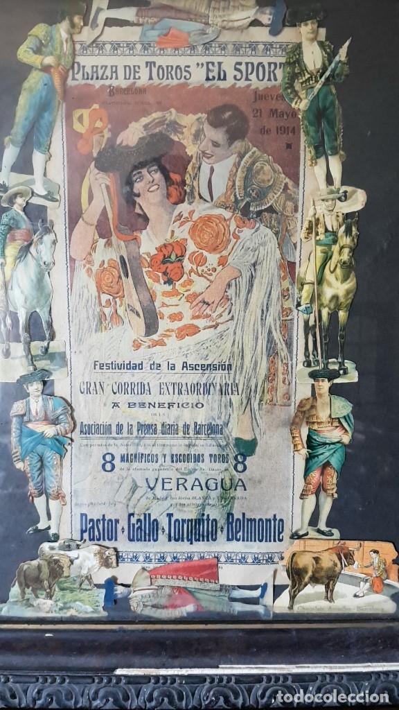 Carteles Toros: PLAZA DE TOROS, EL SPORT, JUEVES 21 MAYO DE 1914, ENMARCADO Y CON CROMOS TROQUELADOS, TAL CUAL SE VE - Foto 2 - 180931120