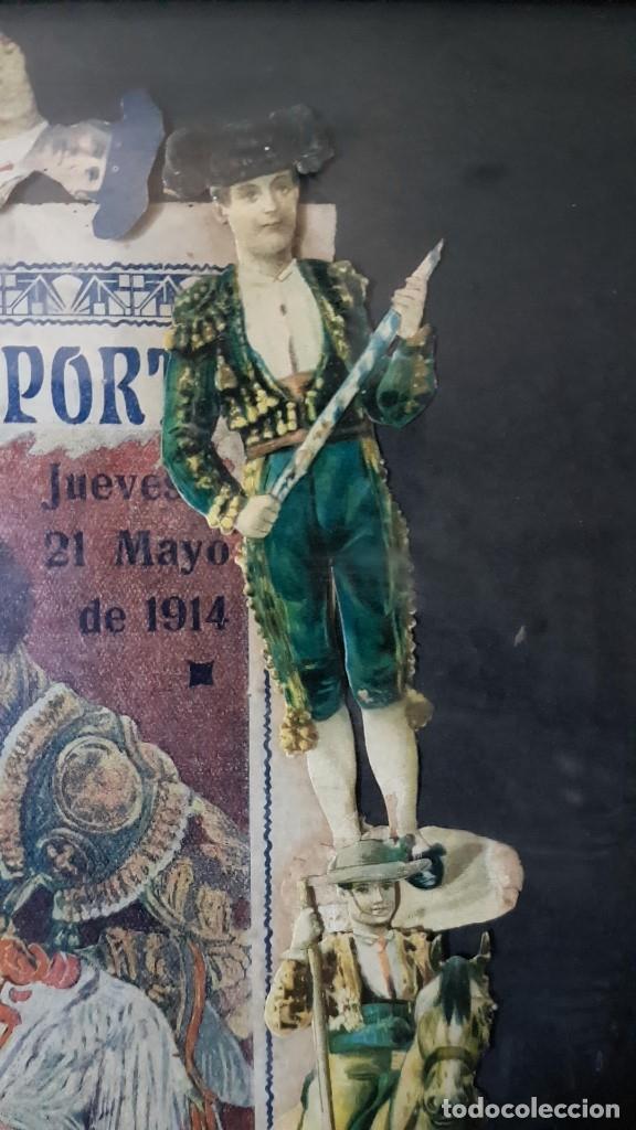 Carteles Toros: PLAZA DE TOROS, EL SPORT, JUEVES 21 MAYO DE 1914, ENMARCADO Y CON CROMOS TROQUELADOS, TAL CUAL SE VE - Foto 3 - 180931120