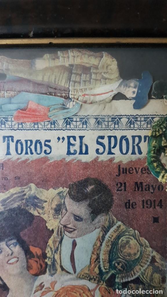 Carteles Toros: PLAZA DE TOROS, EL SPORT, JUEVES 21 MAYO DE 1914, ENMARCADO Y CON CROMOS TROQUELADOS, TAL CUAL SE VE - Foto 4 - 180931120