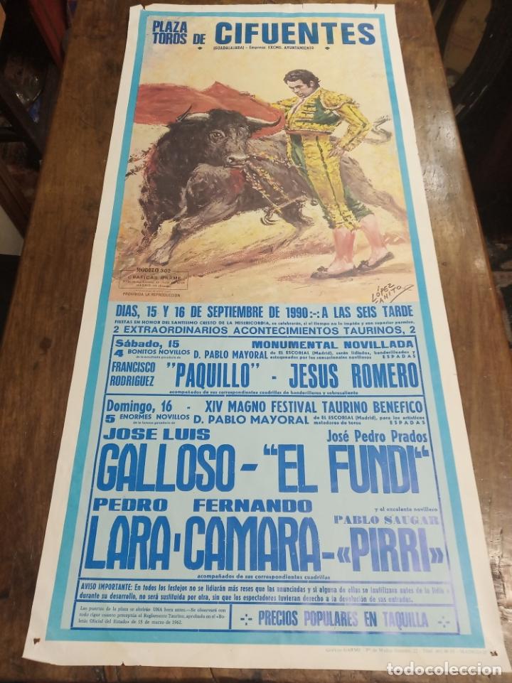 CARTEL CORRIDA DE TOROS. CIFUENTES. 15 Y 16 DE SEPTIEMBRE DE 1990. EL FUNDI. GALLOSO. PIRRI, ETC.. (Coleccionismo - Carteles Gran Formato - Carteles Toros)