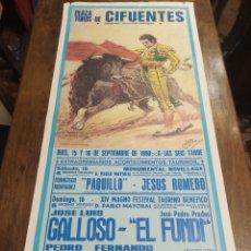 Carteles Toros: CARTEL CORRIDA DE TOROS. CIFUENTES. 15 Y 16 DE SEPTIEMBRE DE 1990. EL FUNDI. GALLOSO. PIRRI, ETC... Lote 181139205