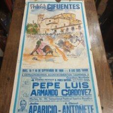 Carteles Toros: CARTEL CORRIDA DE TOROS. CIFUENTES. 15 Y 16 DE SEPTIEMBRE DE 1986. . Lote 181139660