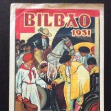 Carteles Toros: CARTEL DE TOROS BILBAO 1931(ANTONIOGUEZALA) DIMENSIONES: 43 X 21 CM. Lote 181409705