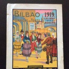 Carteles Toros: CARTEL DE TOROS BILBAO 1919(JOSÉ ARRUE) DIMENSIONES: 38,5 X 22,5 CM.. Lote 181409961