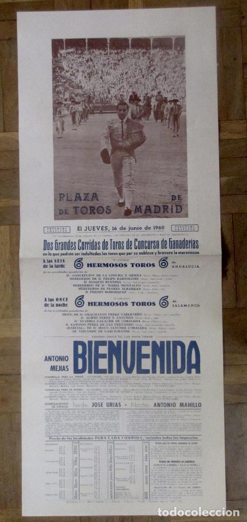 CARTEL DE CORRIDA PLAZA DE TOROS DE MADRID, 16 JUNIO 1960. ANTONIO MEJIAS BIENVENIDA. 65 X 26,8 CM. (Coleccionismo - Carteles Gran Formato - Carteles Toros)