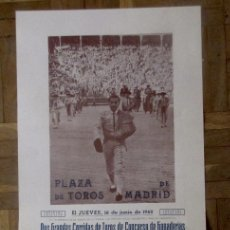Affissi Tauromachia: CARTEL DE CORRIDA PLAZA DE TOROS DE MADRID, 16 JUNIO 1960. ANTONIO MEJIAS BIENVENIDA. 65 X 26,8 CM.. Lote 182290217