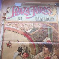 Carteles Toros: CARTEL TOROS, PLAZA CARTAGENA, MURCIA, 1907, LAGARTIJO, LITOGRAFIA, MUY GRANDE, CGT7. Lote 182496653