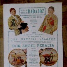 Carteles Toros: PLAZA TOROS DE BADAJOZ. NOVILLADA, 25 JUNIO 1944. PAQUITO MUÑOZ Y PABLITO LALANDA. ORIGINAL. Lote 182514683