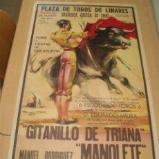 Carteles Toros: CARTEL CORRIDA 1947, PLAZA TOROS LINARES, MUERTE MANOLETE, REPRODUCCIÓN 1959. Lote 182525220