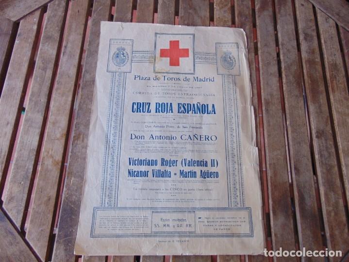 CARTEL DE TOROS MADRID ALFONSO XIII CRUZ ROJA TOREROS CAÑERO ROGER VILLALTA AGUERO 7 JUNIO 1927 (Coleccionismo - Carteles Gran Formato - Carteles Toros)