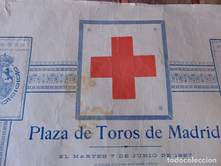 Carteles Toros: CARTEL DE TOROS MADRID ALFONSO XIII CRUZ ROJA TOREROS CAÑERO ROGER VILLALTA AGUERO 7 JUNIO 1927 - Foto 3 - 182836673
