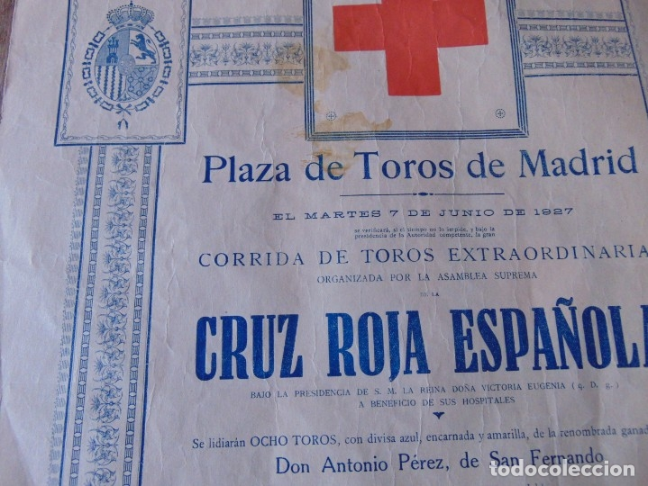 Carteles Toros: CARTEL DE TOROS MADRID ALFONSO XIII CRUZ ROJA TOREROS CAÑERO ROGER VILLALTA AGUERO 7 JUNIO 1927 - Foto 6 - 182836673