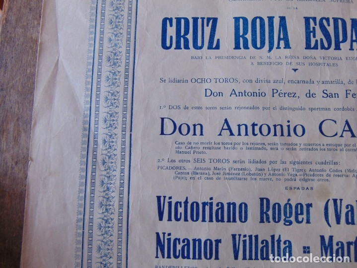 Carteles Toros: CARTEL DE TOROS MADRID ALFONSO XIII CRUZ ROJA TOREROS CAÑERO ROGER VILLALTA AGUERO 7 JUNIO 1927 - Foto 7 - 182836673