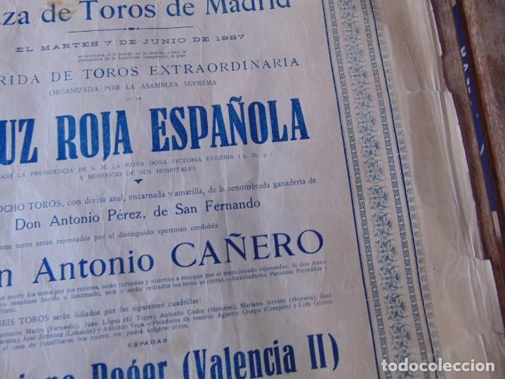 Carteles Toros: CARTEL DE TOROS MADRID ALFONSO XIII CRUZ ROJA TOREROS CAÑERO ROGER VILLALTA AGUERO 7 JUNIO 1927 - Foto 8 - 182836673