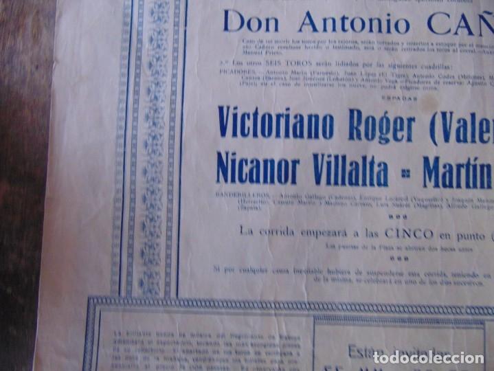 Carteles Toros: CARTEL DE TOROS MADRID ALFONSO XIII CRUZ ROJA TOREROS CAÑERO ROGER VILLALTA AGUERO 7 JUNIO 1927 - Foto 9 - 182836673