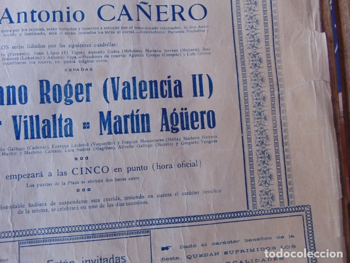 Carteles Toros: CARTEL DE TOROS MADRID ALFONSO XIII CRUZ ROJA TOREROS CAÑERO ROGER VILLALTA AGUERO 7 JUNIO 1927 - Foto 10 - 182836673