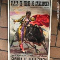 Carteles Toros: CARTEL DE TOROS PLAZA DE SANTANDER. CORRIDA BENEFICIENCIA 1971. Lote 182912275