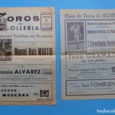 Carteles Toros: 2 CARTELES TOROS - OLLERIA, VALENCIA - AÑO 1967. Lote 183188547