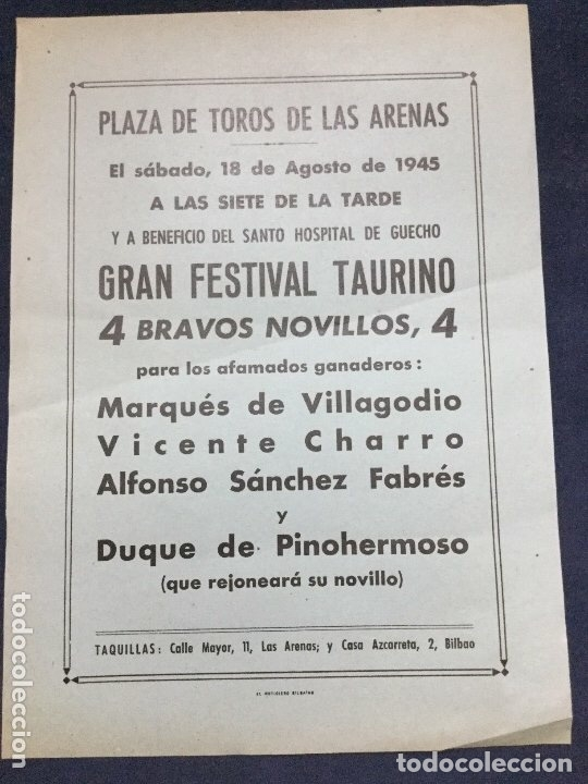 FOLLETO PLAZA DE TOROS DE LAS ARENAS AGOSTO 1945 GRAN FESTIVAL TAURINO (Coleccionismo - Carteles Gran Formato - Carteles Toros)
