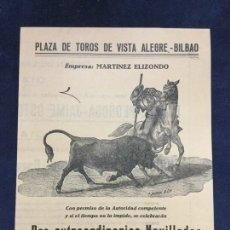 Carteles Toros: PROGRAMA PLAZA DE TOROS DE VISTA ALEGRE BILBAO AGOSTO DE 1956. Lote 183264761
