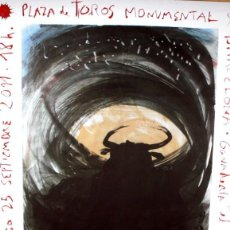 Carteles Toros: CARTEL - ULTIMA CORRIDA EN LA MONUMENTAL - MIQUEL BARCELÓ - JOSE TOMÁS - 1,50 X 85 CM -ENMARCADO.. Lote 219236025