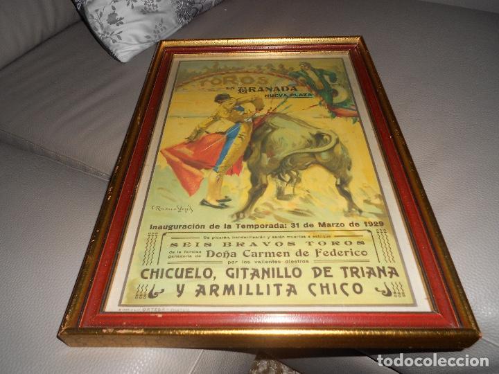 CARTE TOROS GRANADA 31 MARZO 1929 CHICUELO GITANILLO DE TRIANA ARMILLITA CHICO TOROS CARMEN FEDERICO (Coleccionismo - Carteles Gran Formato - Carteles Toros)